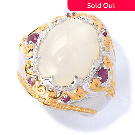 129-870 - Gems en Vogue 16 x 12mm Moonstone & Ruby Ring