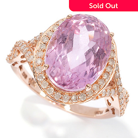 129-873 - Gem Treasures 14K Rose Gold 7.50ctw Oval Pink Kunzite & Diamond Ring