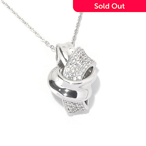 129-875 - Gem Treasures® Sterling Silver White Sapphire Abstract Knot Pendant w/ Chain