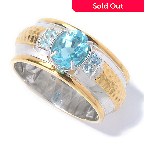 129-884 - Men's en Vogue 1.55ctw Brazilian Apatite Hammered & Polished Ring