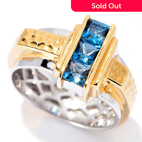 129-887 - Men's en Vogue 1.17ctw London Blue Topaz Hammered & Polished Ring