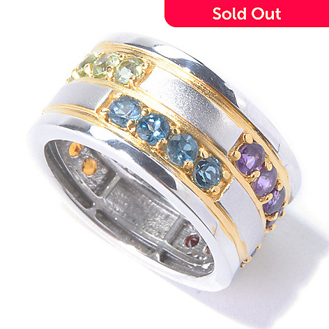 129-888 - Men's en Vogue 2.52ctw Multi Gemstone Eternity Band Ring