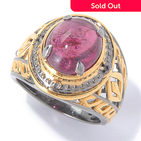 129-889 - Gems en Vogue II 12 x 10mm Dark Pink Tourmaline & Black Spinel Ring