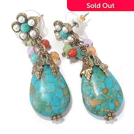 129-902 - Sweet Romance™ 2'' Glass Bead & Howlite Flower Drop Earrings