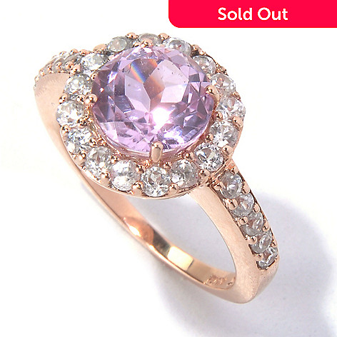 129-921 - Gem Treasures® 14K Rose Gold 2.85ctw Kunzite & White Zircon Round Halo Ring