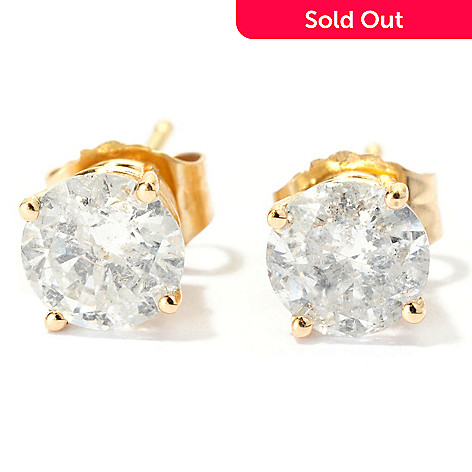 129-924 - Diamond Treasures 14K Gold 1.00ctw Round Diamond Stud Earrings