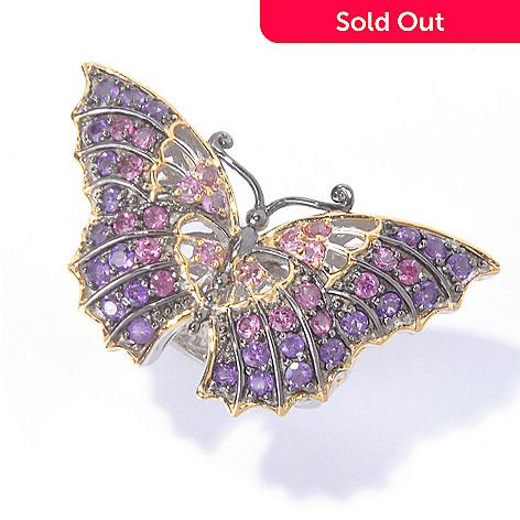 129-927 - Gems en Vogue 2.40ctw Amethyst, Rhodolite & Pink Tourmaline Butterfly Ring