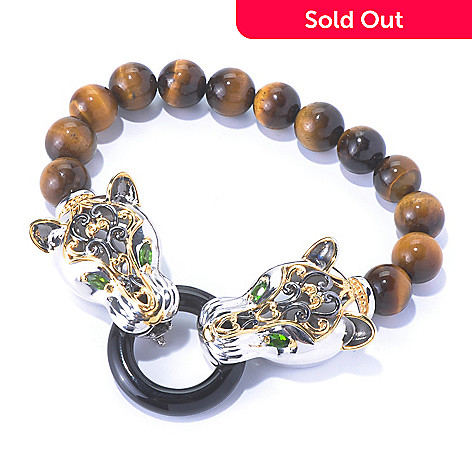 129-938 - Gems en Vogue 8'' Beaded Tiger's Eye & Multi Gemstone Panther Bracelet