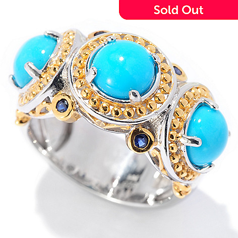 129-940 - Gems en Vogue Sleeping Beauty Turquoise & Sapphire Band Ring