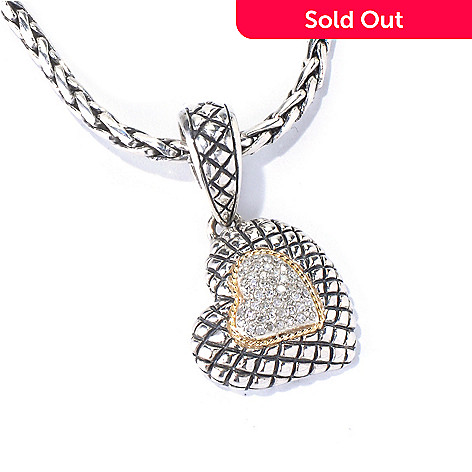 129-944 - Sterling Artistry by EFFY 0.16ctw Diamond Heart Pendant w/ 17.75'' Chain