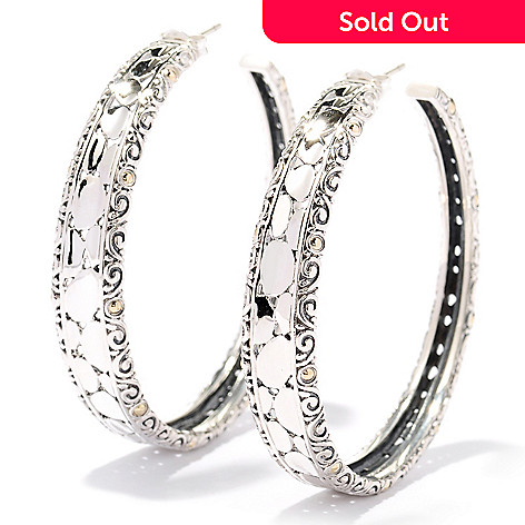 129-945 - Sterling Artistry by EFFY Two-tone Filigree Hoop Earrings