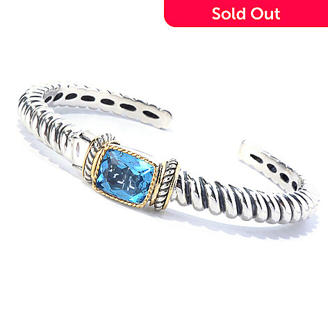 129-947 - Sterling Artistry by EFFY 7.25'' 6.50ctw Blue Topaz Hinged Cuff Bracelet