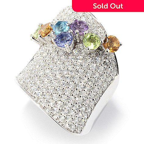 129-953 - Sonia Bitton Platinum Embraced™ Multi Gemstone & Simulated Diamond Overlay Ring
