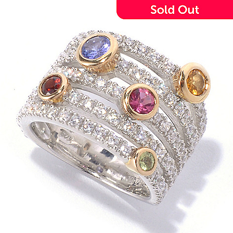 129-954 - Sonia Bitton Two-tone Multi Genuine Gemstone & Simulated Diamond Five-Row Ring