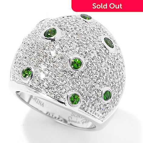 129-955 - Sonia Bitton Platinum Embraced™ Chrome Diopside & Simulated Diamond Ring