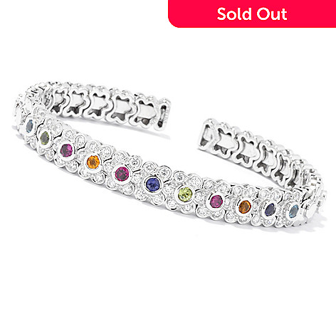 129-957 - Sonia Bitton Platinum Embraced™ Genuine Gemstone & Simulated Diamond Flex Cuff Bracelet