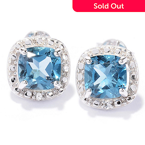 129-961 - Gem Treasures Sterling Silver 2.33ctw London Blue & White Topaz Halo Stud Earrings