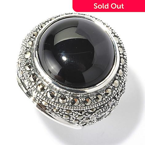 129-963 - Dallas Prince 16mm Round Black Onyx Ring Made w/ Swarovski® Marcasite