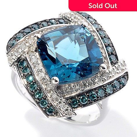 129-964 - Gem Treasures Sterling Silver 7.70ctw London Blue Topaz & Diamond Ring