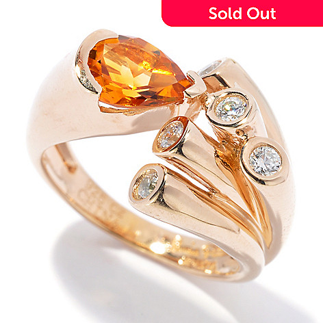 129-966 - Sonia Bitton Gold Embraced™ Genuine Citrine & Simulated Diamond Abstract Ring