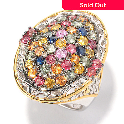 129-968 - Gems en Vogue II 3.76ctw Multi Color Sapphire Oval Dome Ring