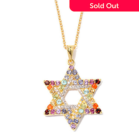 129-970 - NYC II 1.55ctw Multi Gemstone Star of David Pendant w/ Chain