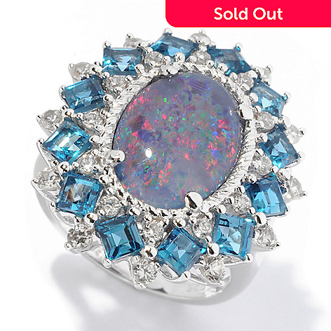 129-974 - NYC II™ 14 x 10mm Boulder Opal Triplet, London Blue Topaz & White Zircon Ring