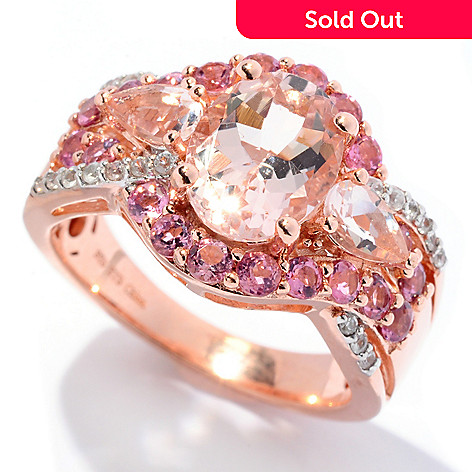 129-976 - NYC II® 2.45ctw Morganite, Pink Tourmaline & White Zircon Halo Ring