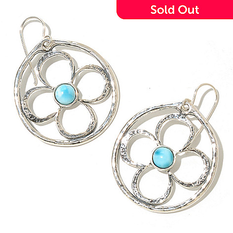 129-982 - Passage to Israel™ Larimar Flower Motif Hammered Drop Earrings