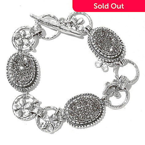 129-983 - Passage to Israel™ Sterling Silver 7.5'' Platinum Drusy Flower Toggle Bracelet