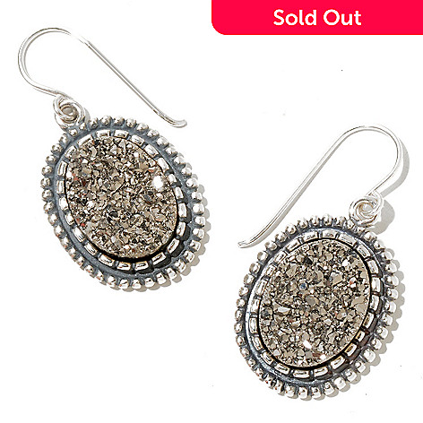 129-984 - Passage to Israel™ Sterling Silver 16 x 12mm Platinum Drusy Drop Earrings