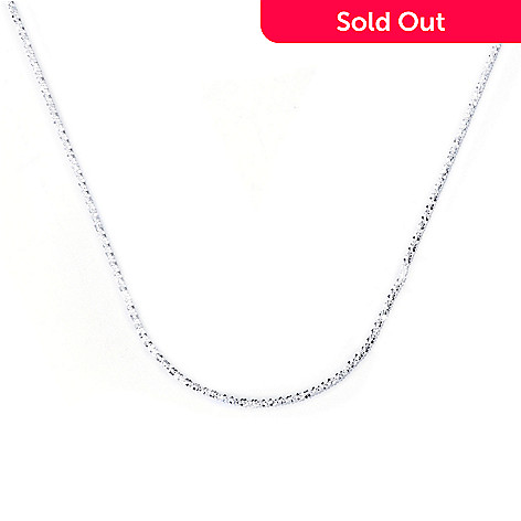 129-989 - SempreSilver® 24'' Sliding Heart Diamond Cut Chain Necklace, 7.3 grams