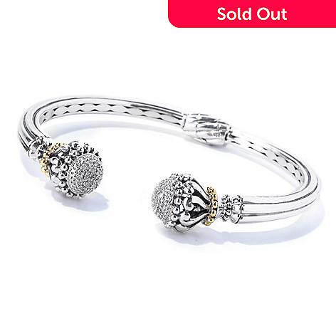 129-995 - Artisan Silver by Samuel B. 0.20ctw Diamond Hinged Cuff Bracelet