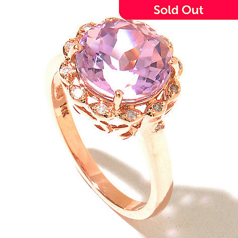 129-997 - Gem Treasures® 14K Rose Gold 3.56ctw Kunzite & Diamond Round Ring