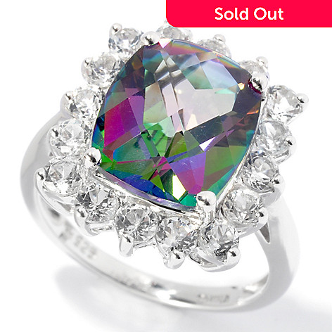 129-998 - Gem Treasures® Sterling Silver 8.94ctw Cushion Cut Mystic Topaz & White Topaz Ring