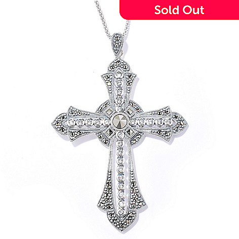 130-000 - Dallas Prince Sterling Silver Topaz Pendant Made w/ Swarovski® Marcasite