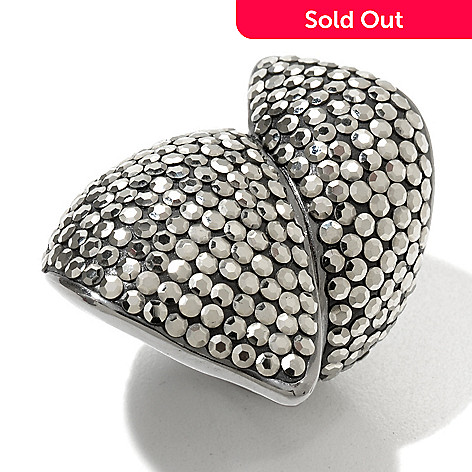130-001 - Dallas Prince Sterling Silver Leaf Bypass Ring Made w/ Swarovski® Marcasite
