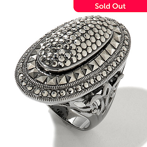 130-002 - Dallas Prince Sterling Silver Wide Oval Ring Made w/ Swarovski® Marcasite