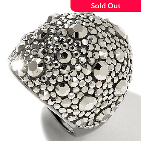 130-003 - Dallas Prince Sterling Silver Dome Ring Made w/ Swarovski® Marcasite