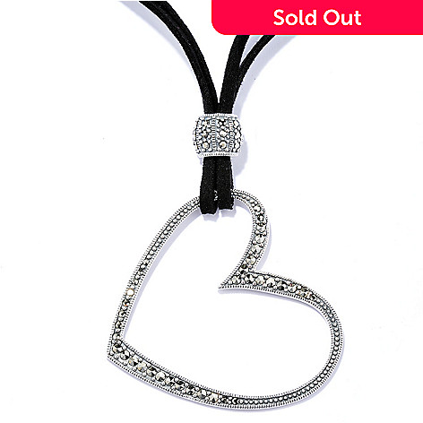 130-005 - Dallas Prince Sterling Silver 18'' Heart Necklace Made w/ Swarovski® Marcasite
