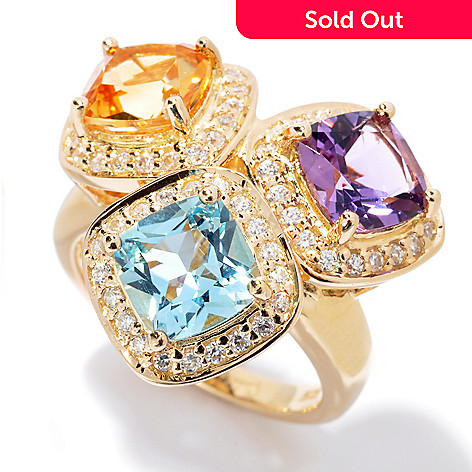 130-010 - Sonia Bitton Multi Gemstone Cushion Cut Simulated Diamond Halo Ring