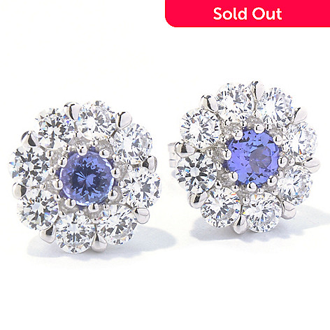 130-011 - Sonia Bitton Platinum Embraced™ Genuine Tanzanite & Simulated Diamond Earrings