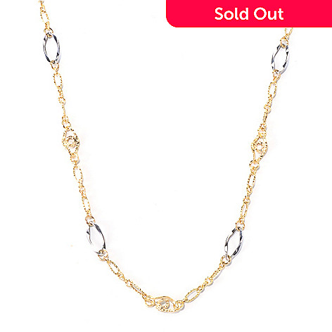 130-017 - Stefano Oro 14K Two-tone Station Necklace, 3.89 grams