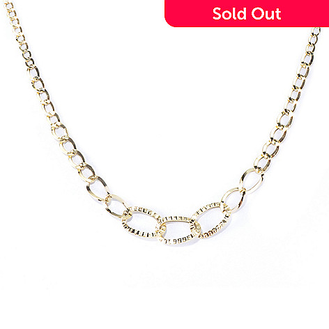 130-018 - Stefano Oro 14K Gold 18'' Graduated Curb Link Necklace, 2.13 grams
