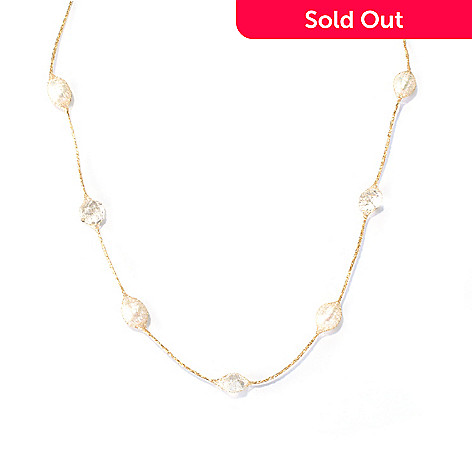 130-020 - Italian Designs with Stefano 14K Gold 18'' Cultured Pearl & Rock Crystal Mesh Necklace