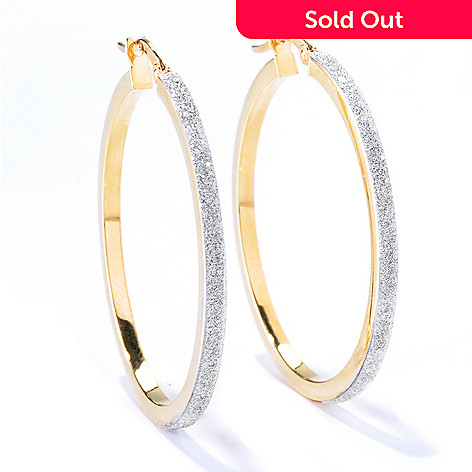 130-028 - Italian Designs with Stefano 14K Gold Glitter Pave Hoop Earrings