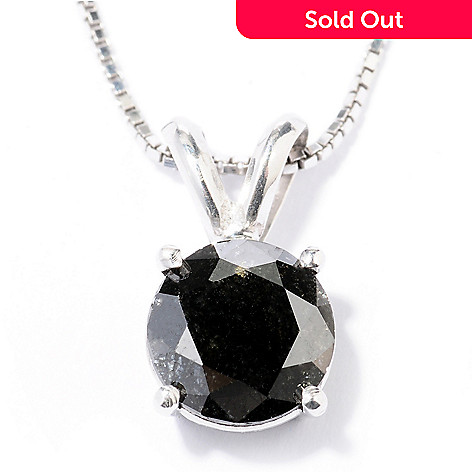 130-032 - Diamond Treasures Sterling Silver 1.00ctw Black Diamond Pendant w/ Chain
