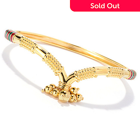 130-033 - Jaipur Jewelry Bazaar™ Gold Embraced™ 7.75'' Enamel & Bead Charm Bangle Bracelet
