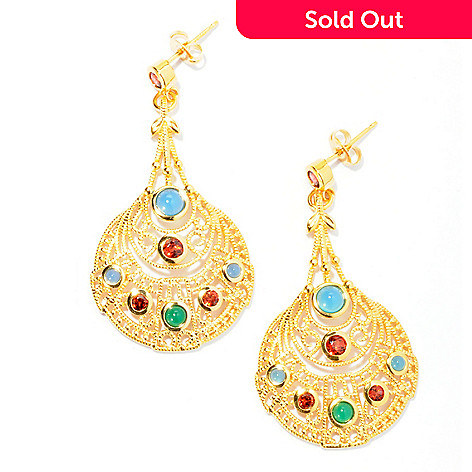 130-035 - Jaipur Jewelry Bazaar™ Gold Embraced™ Garnet, Blue & Green Agate Filigree Earrings
