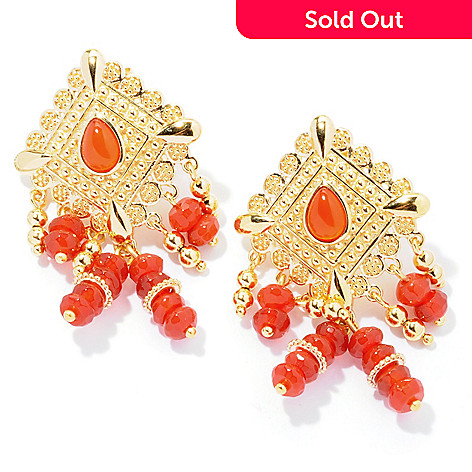 130-036 - Jaipur Jewelry Bazaar™ Gold Embraced™ 1.75'' Red Agate Textured Ornate Drop Earrings